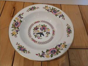 Aynsley-Capistrano-FineBone-China-Soup-Cereal-Bowl-8-034-Bird-Swallow-Asian-Flowers