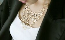 Beautiful multilayer flower goldtone necklace statement gift work alloy gold