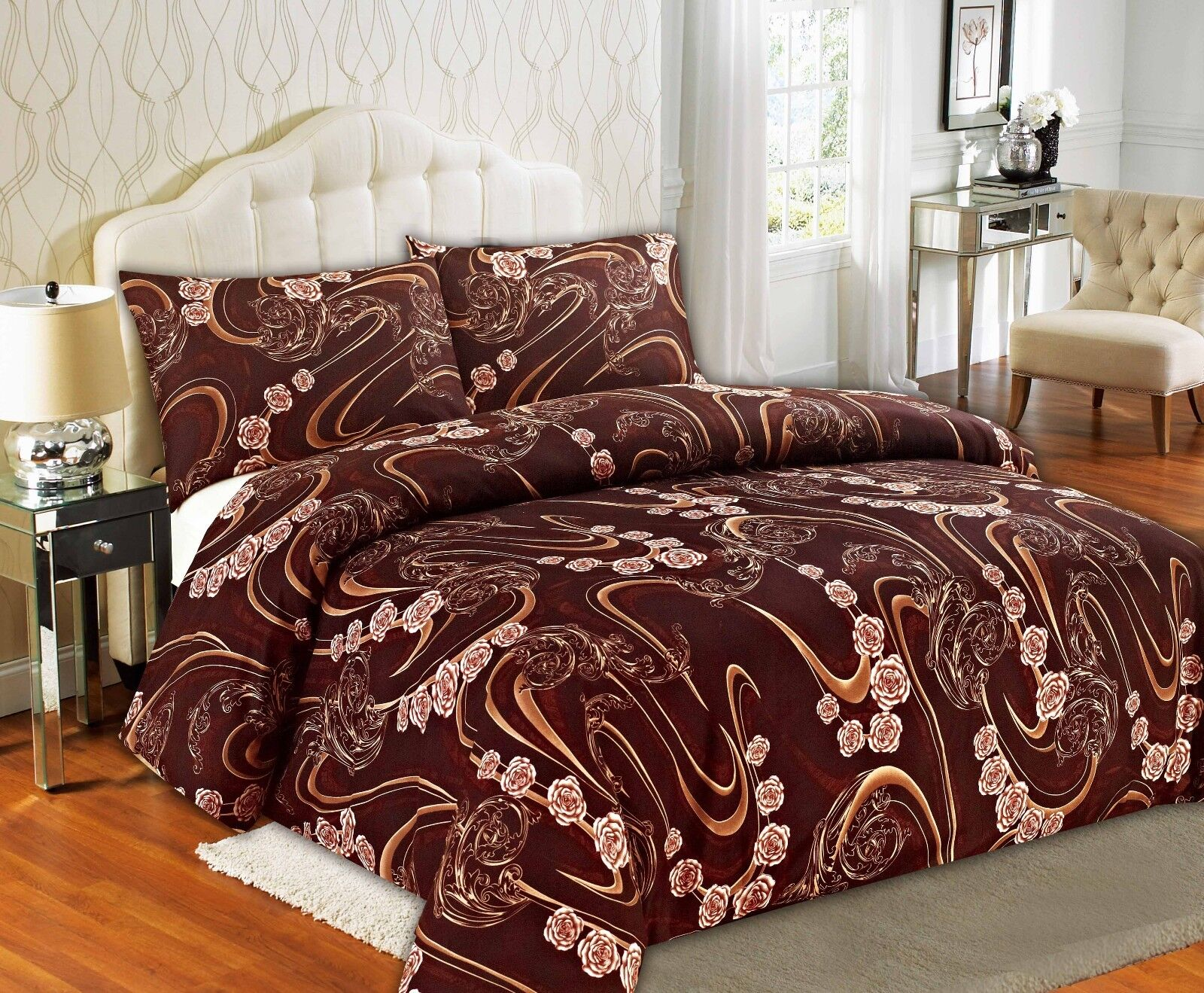 Tache Melted gold Brown Tan Beige pinks Swirl Floral Duvet Cover Set