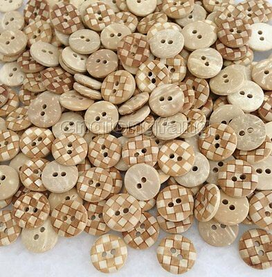 100 Pcs Natural Coconut Shell Round 2-Holes Buttons fit Sewing Scrapbook Cck018