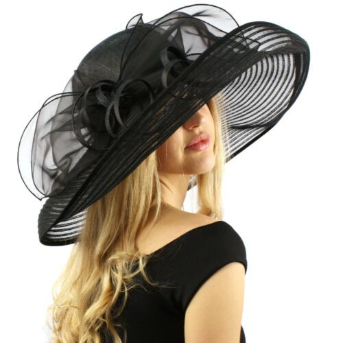 """Stunning Simamay Spiral Bow Floral Kentucky Derby Floppy 7"""" Brim Dress Hat"""