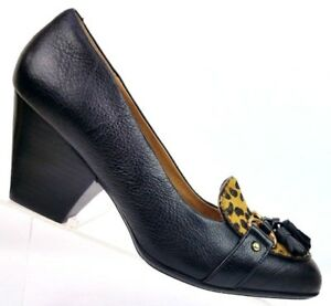 Sofft Black Leather Calf Hair Leopard