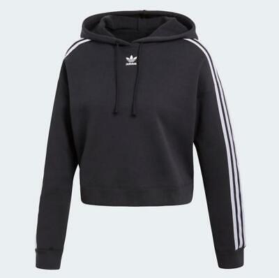Sweat Shirt de Femme Adidas Crop à Capuche CY4766 Noir Blanc Jersey à Capuche | eBay