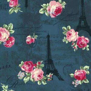 Cottage-Shabby-Chic-RURU-Bouquet-Rose-in-Paris-Eiffel-Tower-RU2370-12E-Blue-BTY