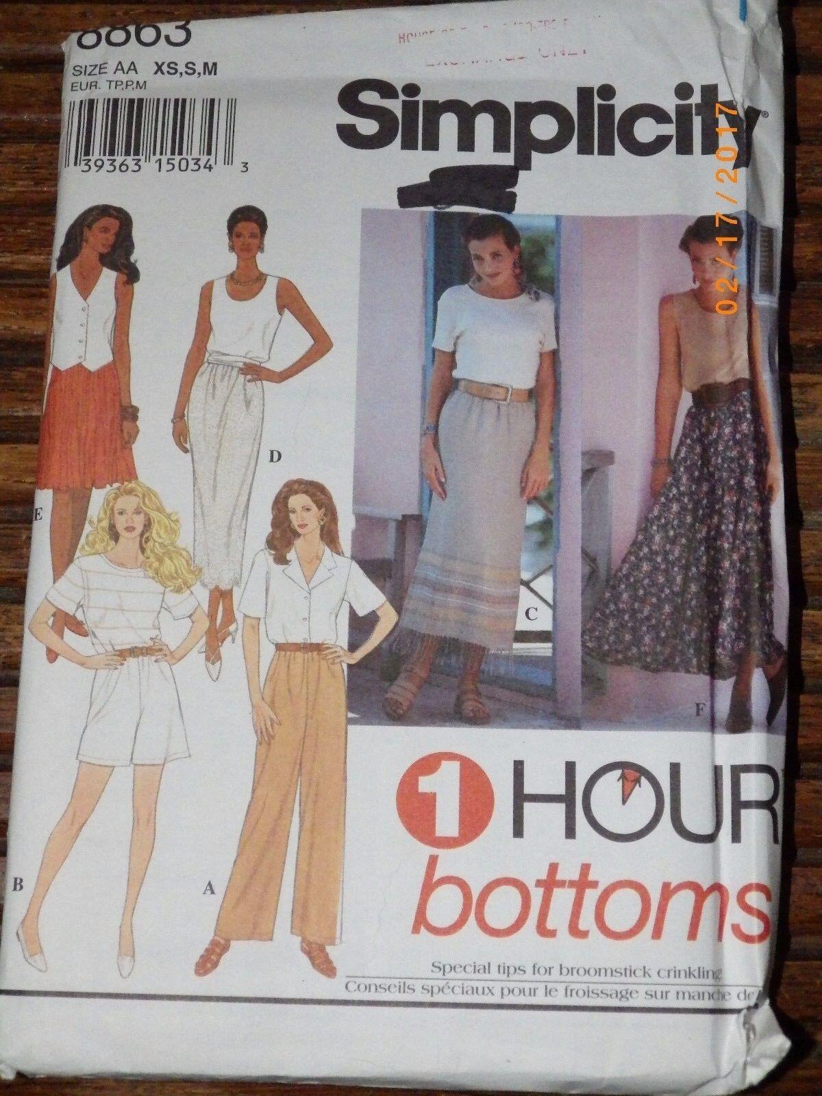 Simplicity 8863 Skirt Pants 1 Hour EASY Sz Extra-Small Small  Medium UNCUT