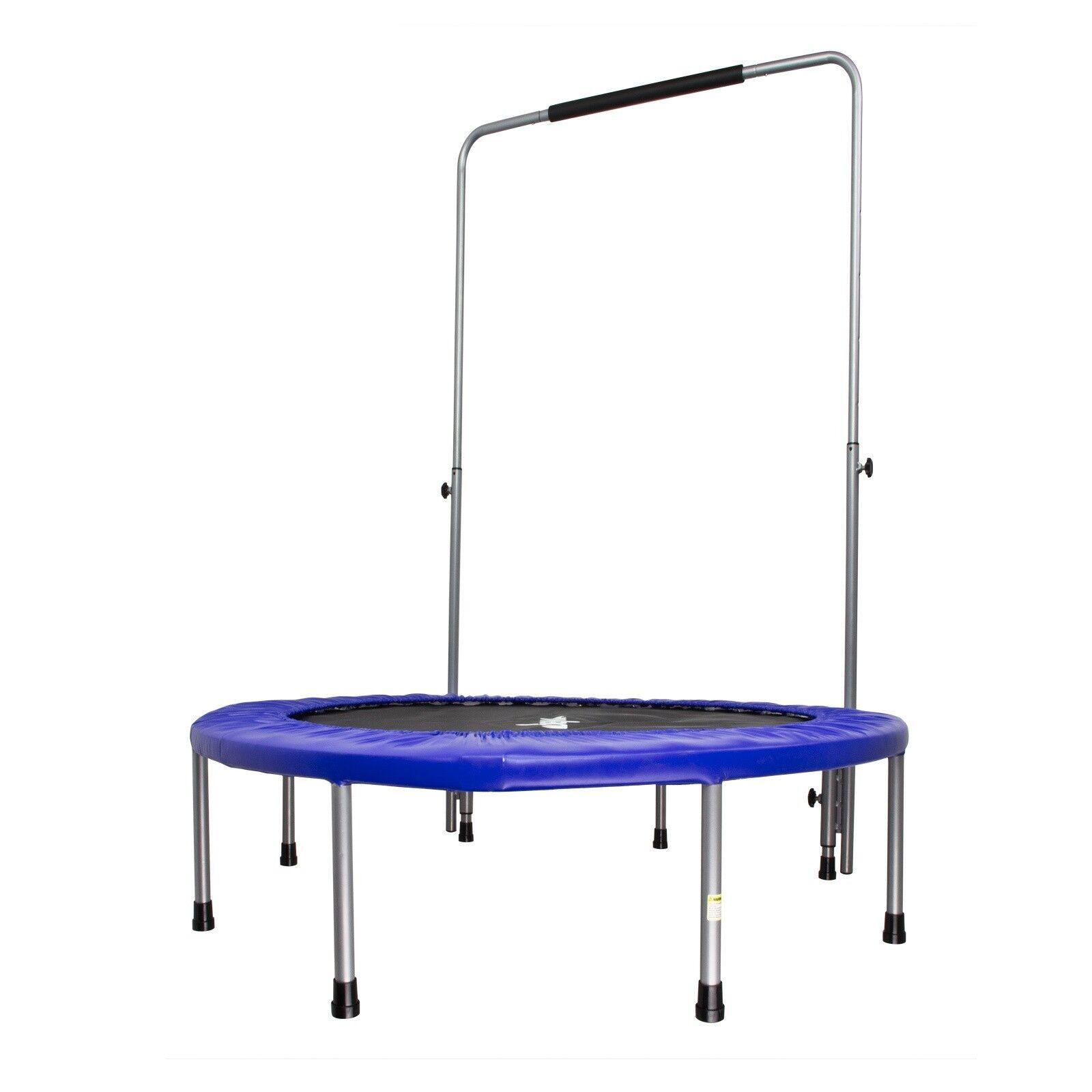 Falt Fitness Trampolin Gartentrampolin blau 122cm + Haltegriff bis 100 kg