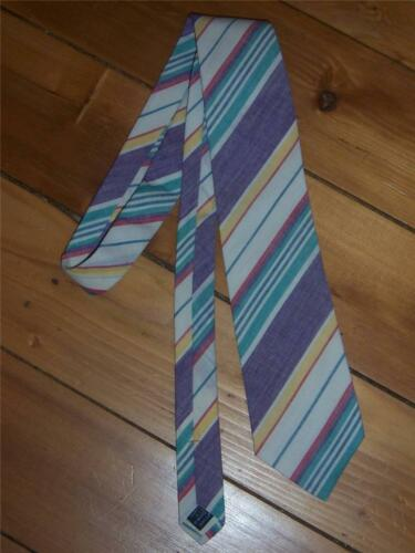 Lands End Mens Necktie White MultiColor Stripe 100/% Cotton Made in USA NEW