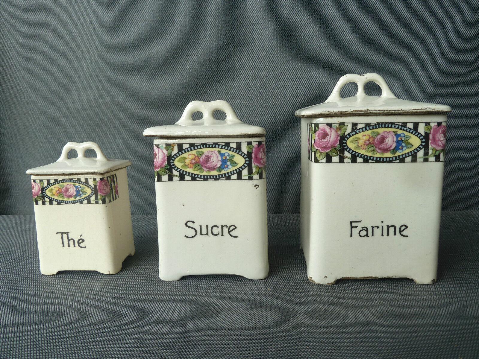 Set di 3 antico vasi in ceramica decorazione da cucina vintage old Francese