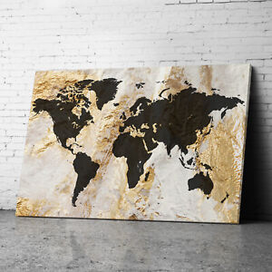 Large Framed Black Gold Map of the World  Map Of World Canvas Prints Wall Art