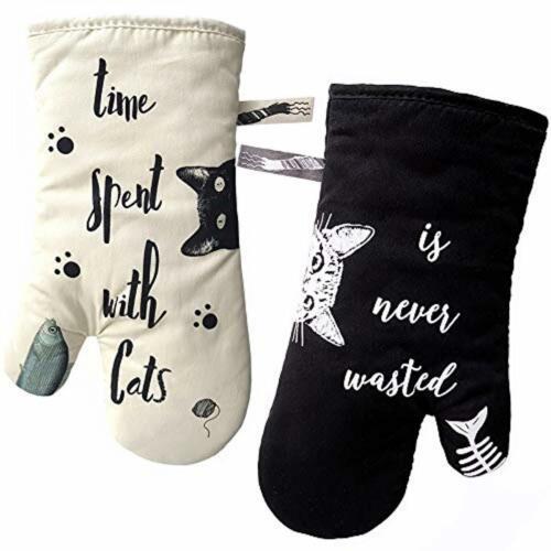 GREVY Baumwolle Backhandschuhe Ofenhandschuhe Grillhandschuhe,31 CM,Cat mit Schw