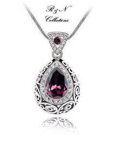 Platinum-Plated-Made-W-Swarovski-Purple-Drop-Crystal-Pendant-Necklace-N472-27