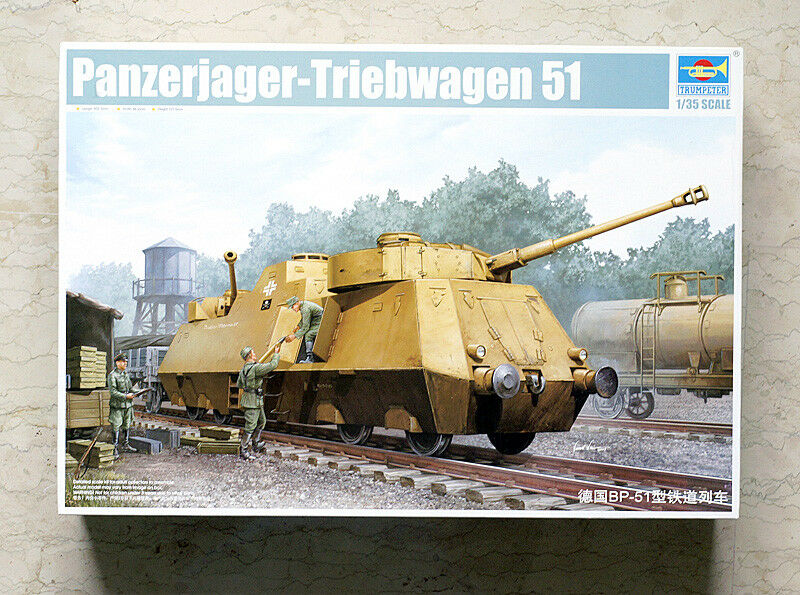 01516 Trumpeter 1 35 Model German BP-51 Railway Train Panzerjager Tank Kit Car