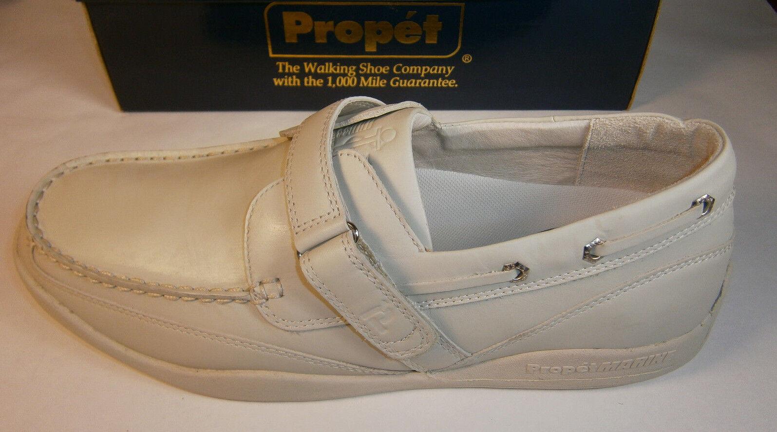 PROPET MARINE BEST BOAT SHOES LEATHER DIABETIC IVORY 8.5 9 10 SAILING WALKING