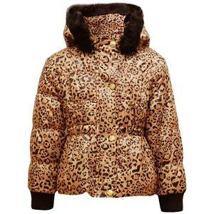 507ba6d79395 NEW Girls Kids Leopard Fur Hood Padded Winter Coat Jacket School Age ...
