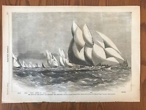Yachts-Racing-Race-For-The-Queen-s-Cup-Wood-Engraving-1870