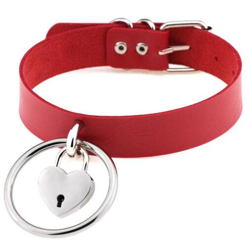 AM/_ LC/_ Heart Shape Lock Big Metal Hoop Faux Leather Choker Necklace for Women S