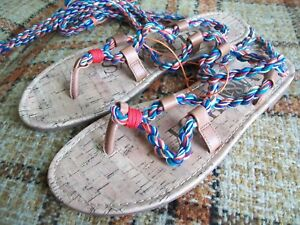 Details about Sam & Libby NWT Womens Size 7 5 Braided Multicolor Tie-Off  Thong Sandals