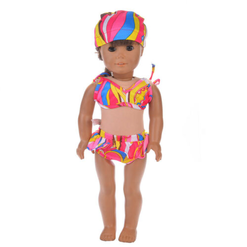 swimming cap set Handmade Doll Clothes For 18-inch American Girl Swimsuit