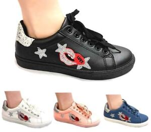 89fb1d49fb0bc Details about GIRLS AND LADIES FUNKY GLITTER LOVE HEART TRAINERS PLIMSOLL  FLAT SHOES