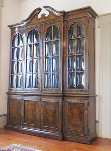 Image Is Loading Heritage Chippendale Chinese Chinoiserie Breakfront Bookcase China Cabinet