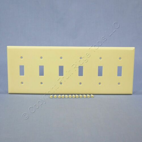 Eagle Ivory 6-Gang Toggle Light Switch Cover Thermoset Plastic Wallplate 2156V