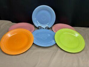 "Set of 6 (4 Colors) Fiestaware Mulit-Colors Dinner Plates ~ 10 1/2"""