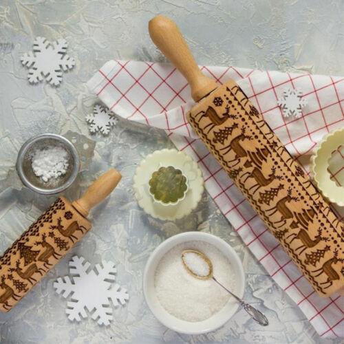 35*5CM DIY Embossed Rolling Pin Fondant Biscuit Cookies Dough Print Stick Decor