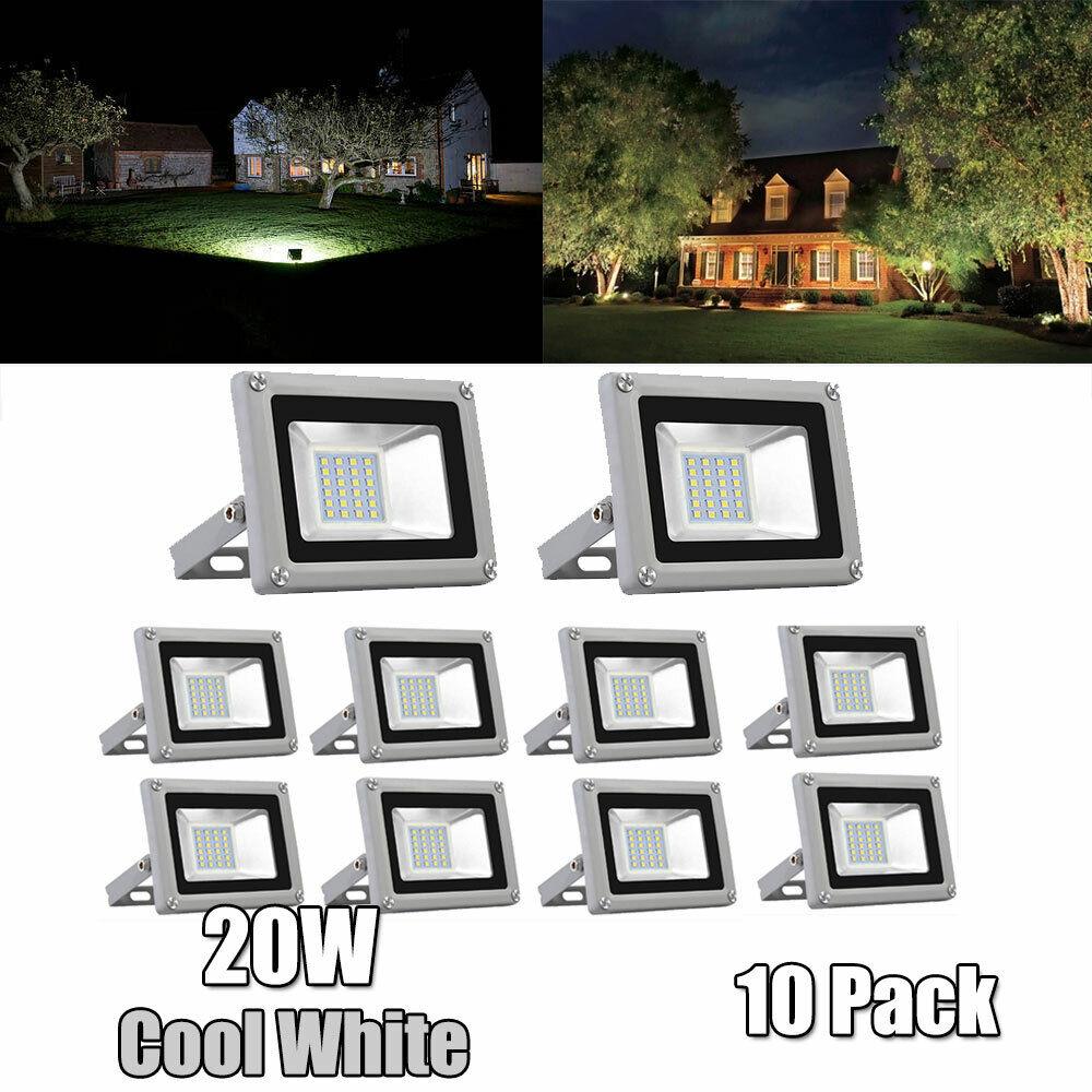 10pcs LED Floodlight 20W Sicherheits Garten Scheinwerfer Kaltweiß Wasserdichte