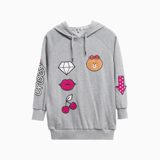 LINE FRIENDS STORE OFFICIAL GOODS : Gray Choco Style Loose Fit Hoodie