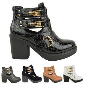 LADIES-WOMENS-ANKLE-BOOT-MID-BLOCK-HEEL-GOLD-BUCKLES-CUT-OUT-WINTER-SHOES-SIZE