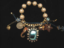 BETSEY JOHNSON UNDER THE SEA SQUARE BLUE STONE SEA HORSE STAR FISH BRACELET