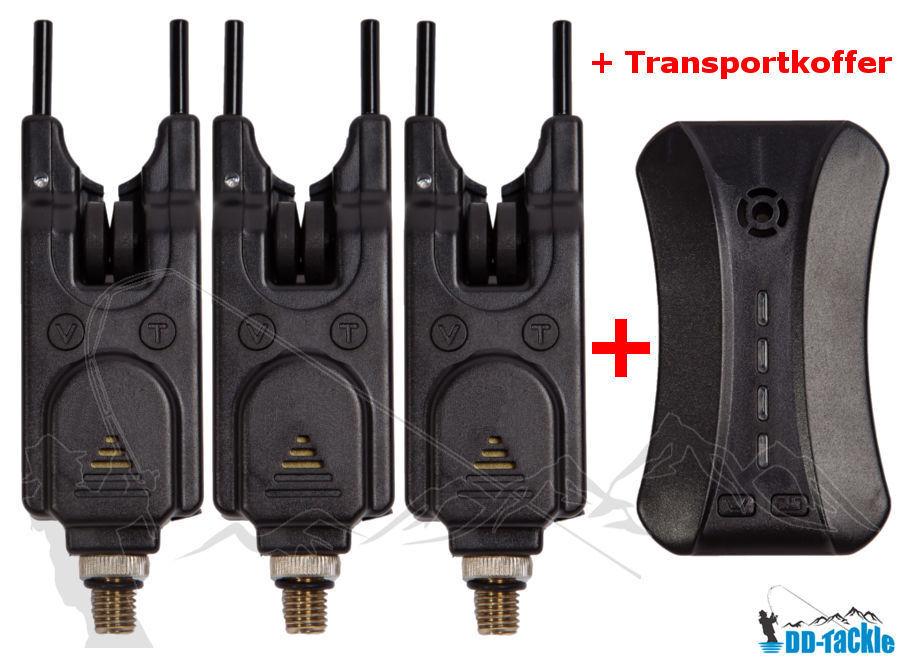 3 + 1 DELUXE Elektronische LED Funk Bissanzeiger Set + Koffer Baitalarm Karpfen