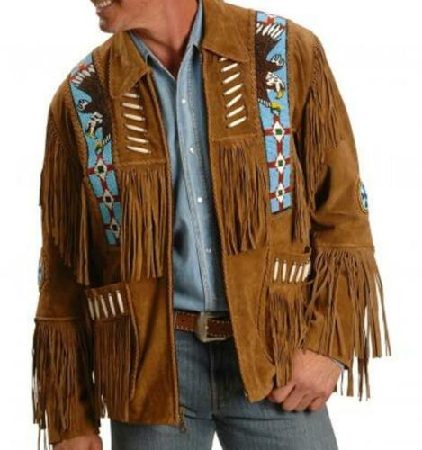 Handmade Men Brown color Suede Leather Western Cowboy Jacket Men Fringe jacket