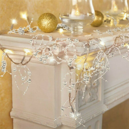 Cordless Lighted Silver Berry-Beaded Holiday Christmas Garland Decoration 3Color