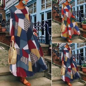 Mode-Femme-Impression-Geometrique-Patchwork-Manche-longue-Party-Robe-Maxi-Plus