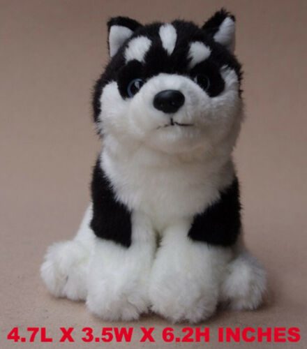 Realistic Black Husky Dog Puppy Plush Kids And Children Stuffed Animal Toy Pet