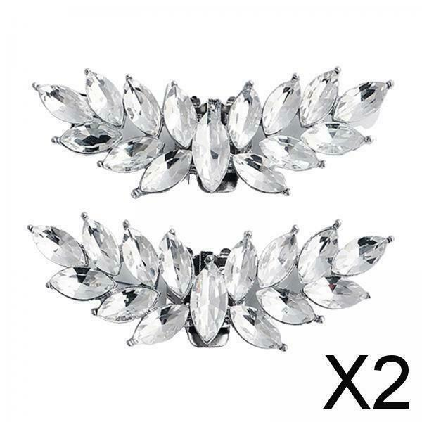 2X 1Pair Rhinestone Bridal Shoe Clips Applique Patch with Beaded Crystal