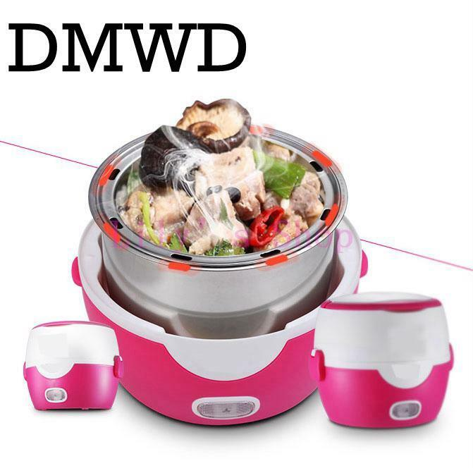 Electric Cooker Heating Double Layers Lunch Box Insulation Steamer Food Box 1.3L