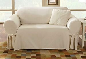 Image Is Loading Sure Fit Cotton Duck Sofa Slipcover In Natural