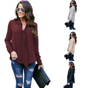 625e7b7d989e33 Ladies Chiffon T-Shirt V-Neck Long Sleeve Casual Loose Tops Blouse ...