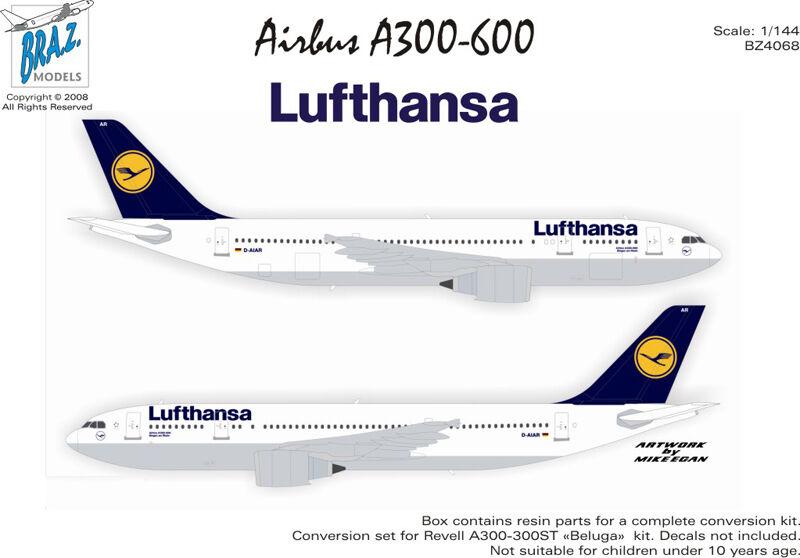 Braz Models 1 144 Airbus A300-600R Conversion Set - Lufthansa (BZ4068)