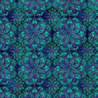 Fabric 2593 Blue Purple Green Pink Medallions Studioe End Of Bolt At 53-3/4 In.