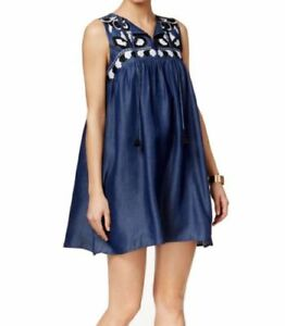 0eedca3f00f Cece by Cynthia Steffe 4 Blue Shift Dress Embroidered Tassels Summer ...