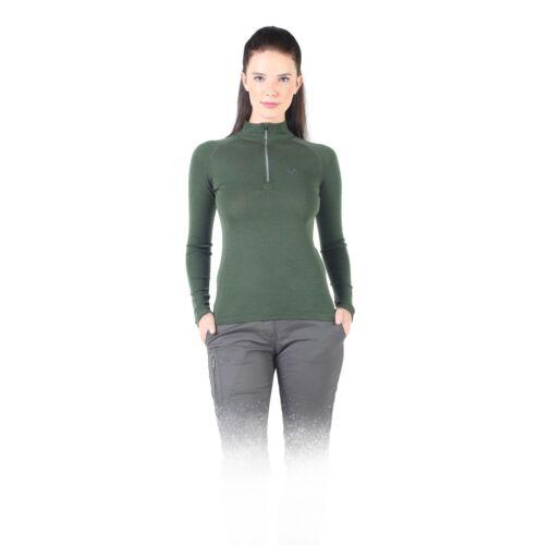 NEU Langarmshirt Damen Zip Laufshirt Funktionsshirt Baselayer 100/% Merinowolle