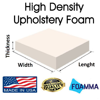 Mybecca Upholstery Foam Cushion Medium Firm Seat Replacement, Upholstery Sheet, Foam Padding 2 H x 24 W x 72 L