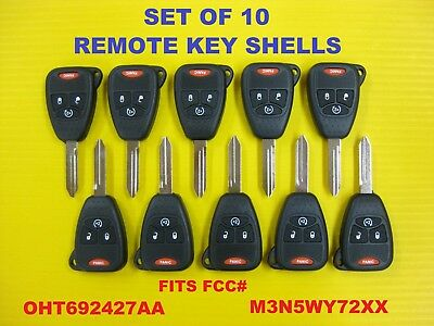 OHT692427AA OHT692713AA Discount Keyless Replacement Uncut Key Shell Case and Button Pad For Chrysler Dodge Jeep M3N5WY72XX