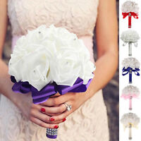 Wedding Ivory Rose Flowers Bouquet for Bride Bridesmaid Flower-Girl  Holy
