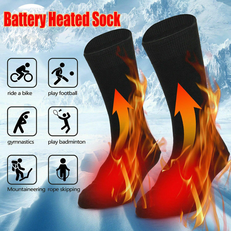 Image 01 - Winter Electric Thermal Heated Socks Feet Warmer Rechargeable Battery Men Women