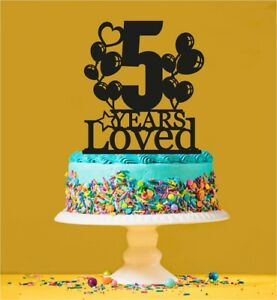 Image Is Loading 5th Birthday Loved Cake Topper 5 Years Old