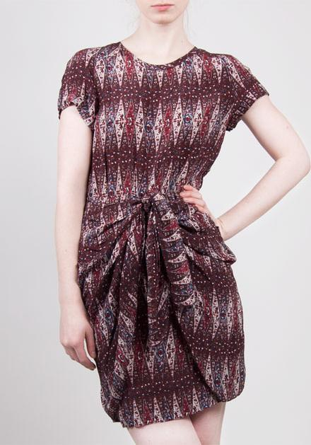 NWOT ISABEL MARANT Etoile  Reilly  Draped Silk Dress SZ 0 XS Burgundy RARE